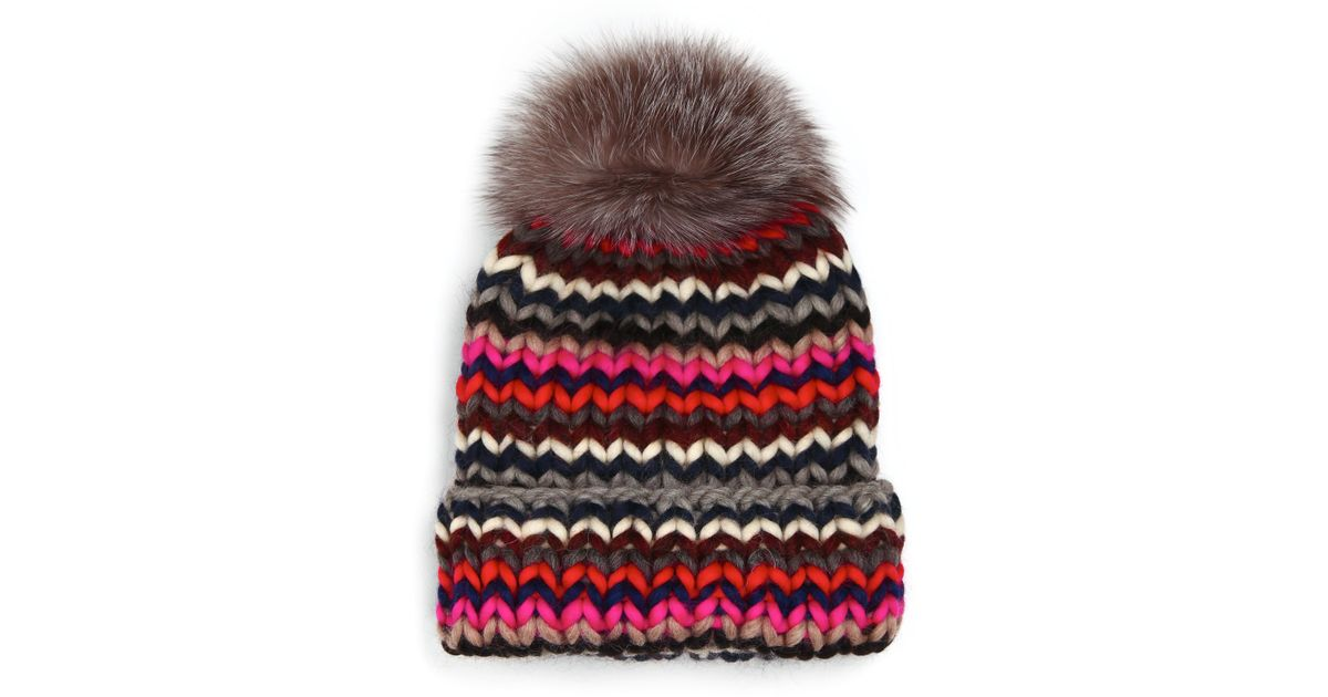 a279a5ceec6 Lyst - Eugenia Kim Rain Fox Fur Pom-pom Wool Beanie in Brown
