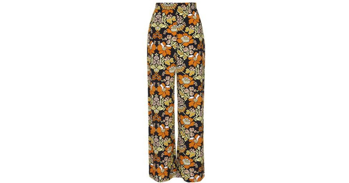 25f07b487be3 TOPSHOP '70s Floral Print Wide Leg Trousers - Lyst