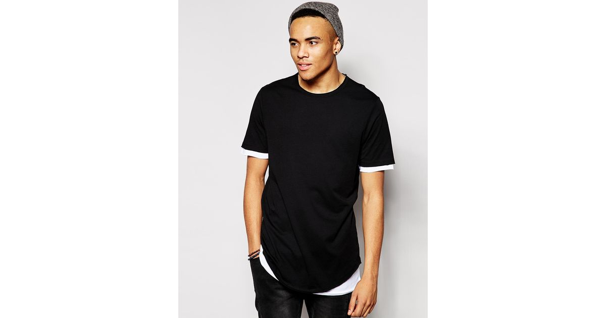 Lyst - Asos Super Longline T-shirt With Double Layer Effect in Black for Men