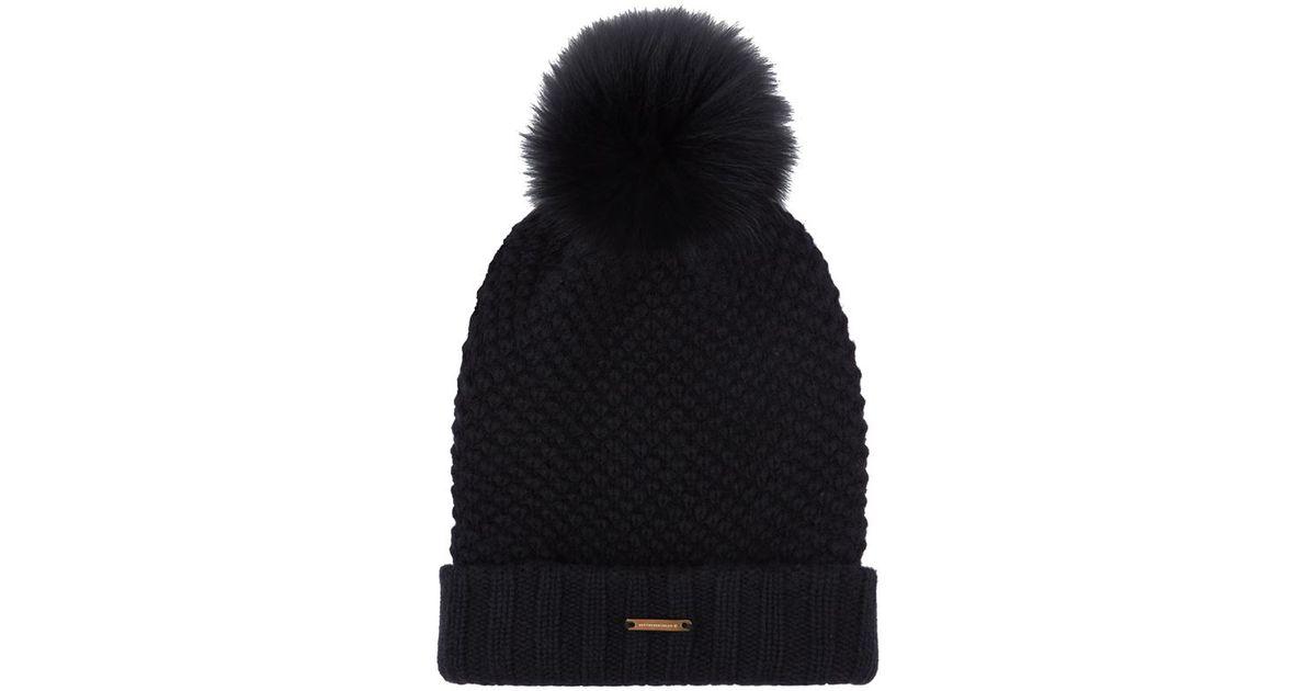 d888cd0c8b7bf Burberry Fur Pom-Pom Wool Cashmere Beanie Hat in Black - Lyst