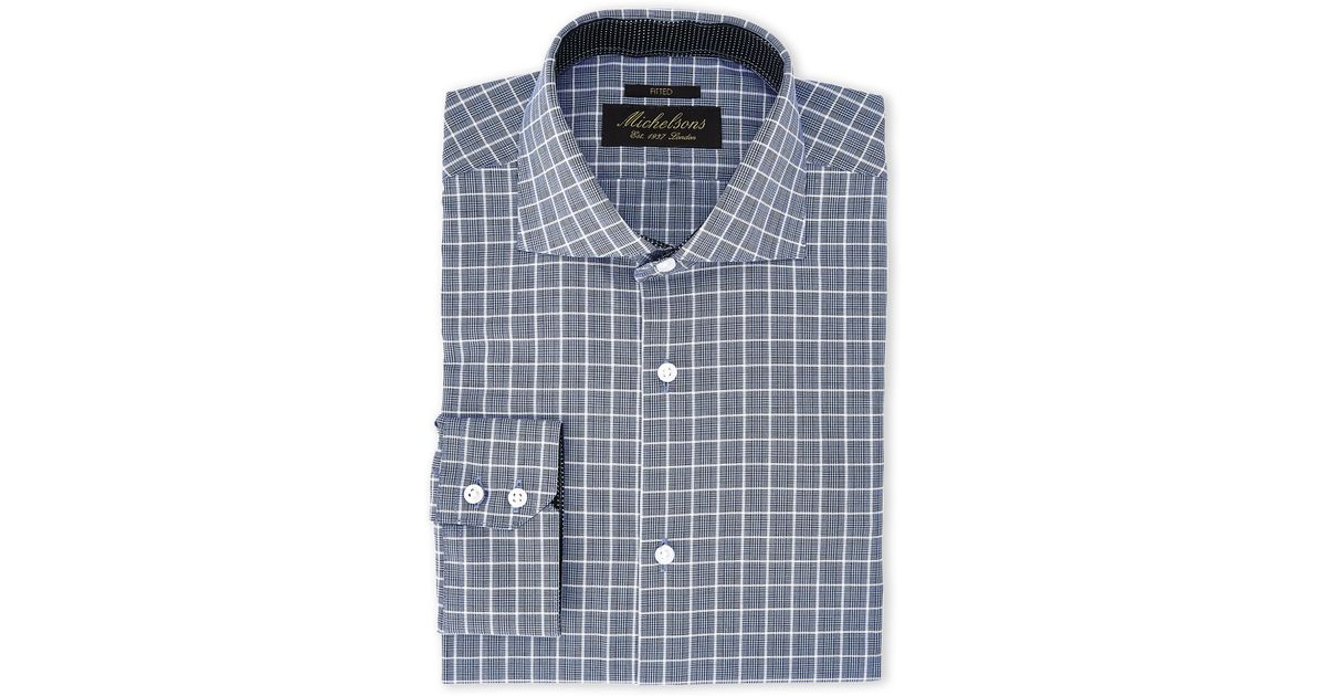 Michelsons Of London Blue Navy Plaid Fitted Dress Shirt