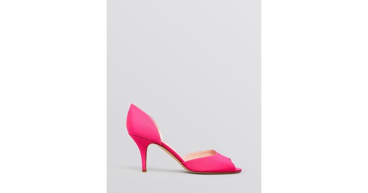 49386637d70 Lyst - Kate Spade Peep Toe D Orsay Evening Pumps - Sage High Heel Hot Pink  in Pink