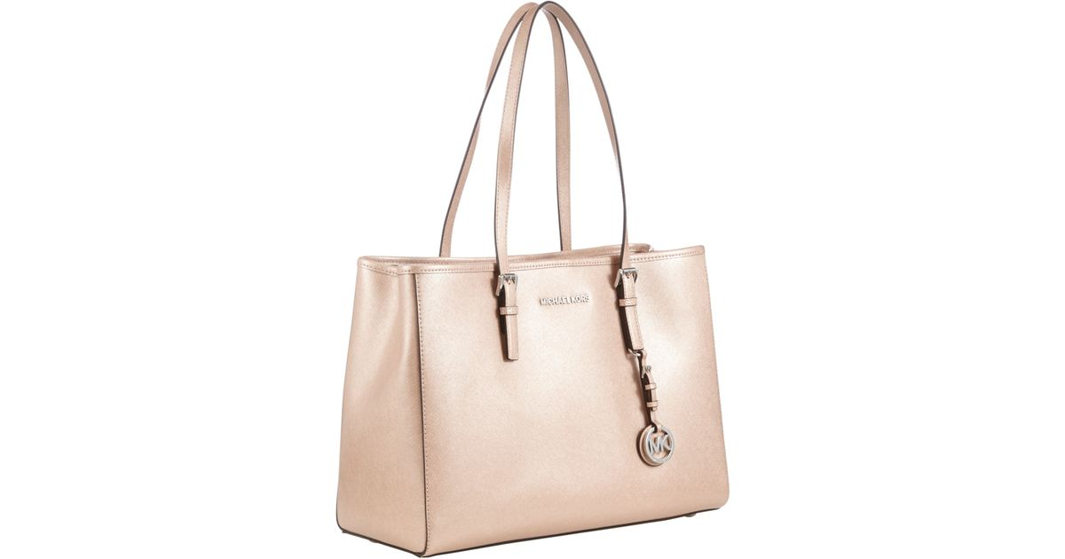 0683114816c0 ... Michael Michael Kors Jet Set Travel Large East West Leather Tote Bag in  Pink - Lyst
