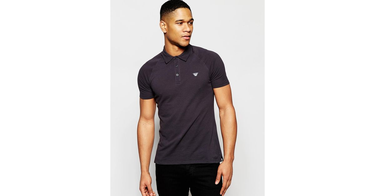 Armani Jeans Polo Shirt With Raglan Sleeves Slim Fit In