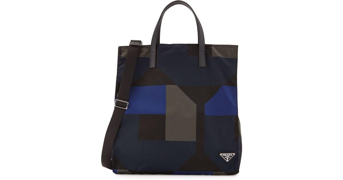733f573c9e Prada Men's Printed Nylon Tote Bag in Black for Men - Lyst