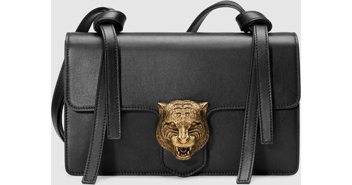 6227b978285 Lyst - Gucci Animalier Leather Shoulder Bag in Black