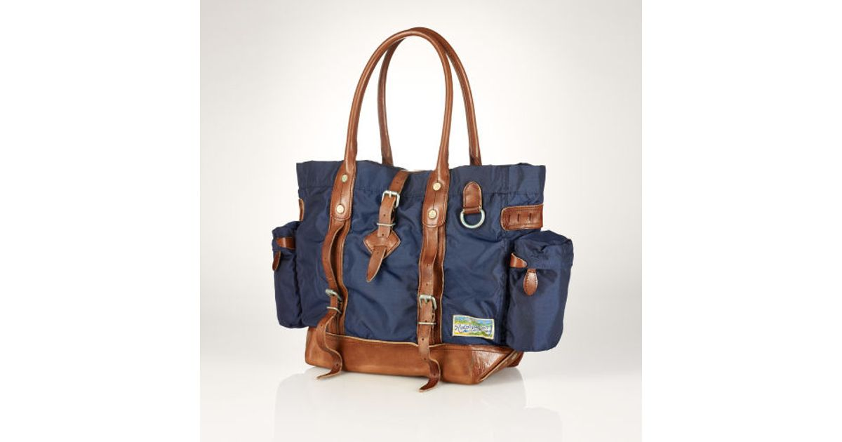 525cdebe95d Lyst - Polo Ralph Lauren Leather-trimmed Nylon Tote in Blue