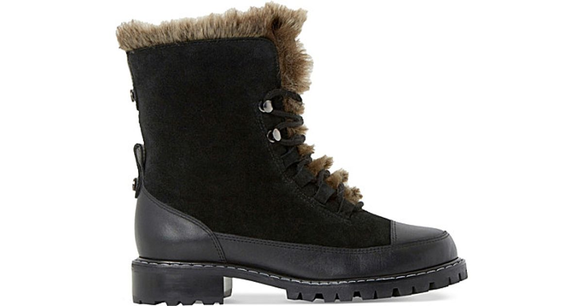 dune raleigh faux fur lined suede boots in black lyst