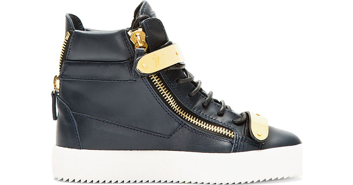 d34a38f9065 Lyst - Giuseppe Zanotti Navy Leather Maylon High-top Sneakers in Blue