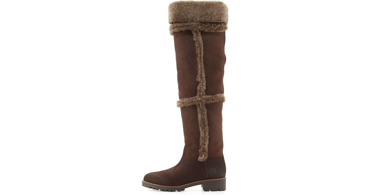 3baf4603d75 Lyst - Tory Burch Talouse Shearling Tall Boot in Brown