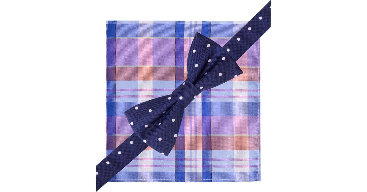 a32129e3bd13 Tommy Hilfiger Dot Bow Tie Madras Pocket Square Set in Blue for Men - Lyst