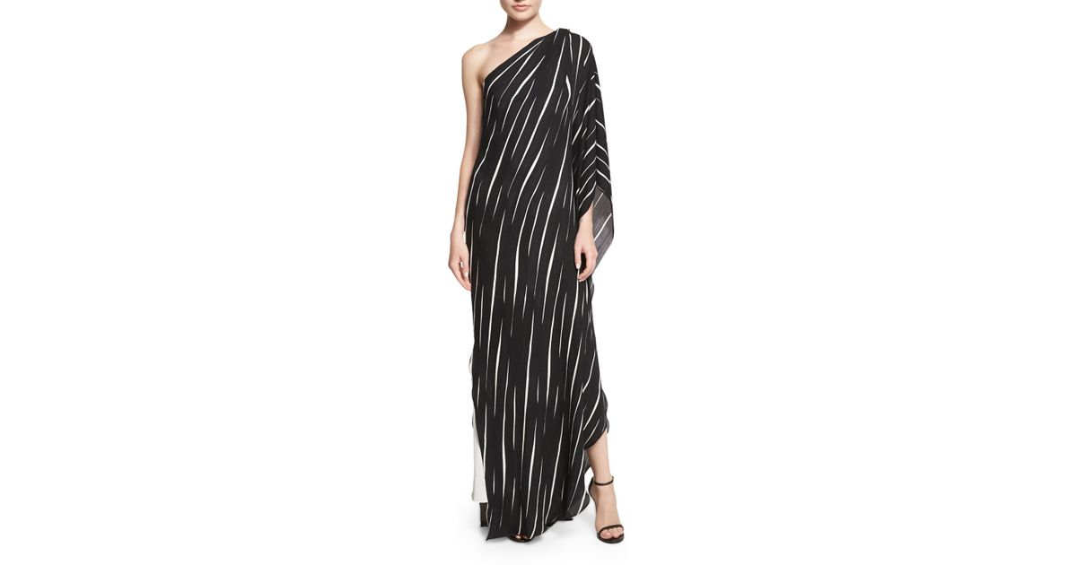 caaf314df35b8 Halston One-shoulder Draped Striped Dress in Black - Lyst