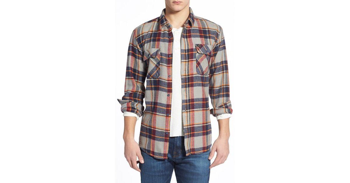 6d2cd92f94e0 Brixton 'bowery' Long Sleeve Plaid Flannel Shirt for Men - Lyst