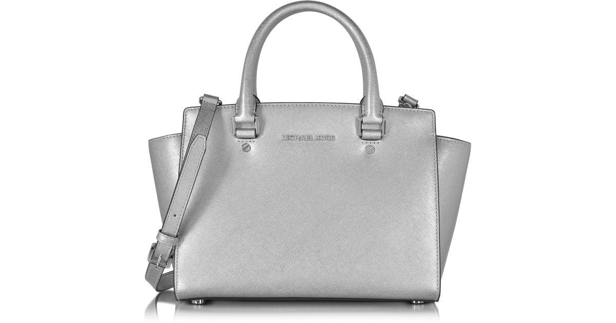 Lyst Michael Kors Selma Saffiano Leather Medium Satchel Bag In Metallic