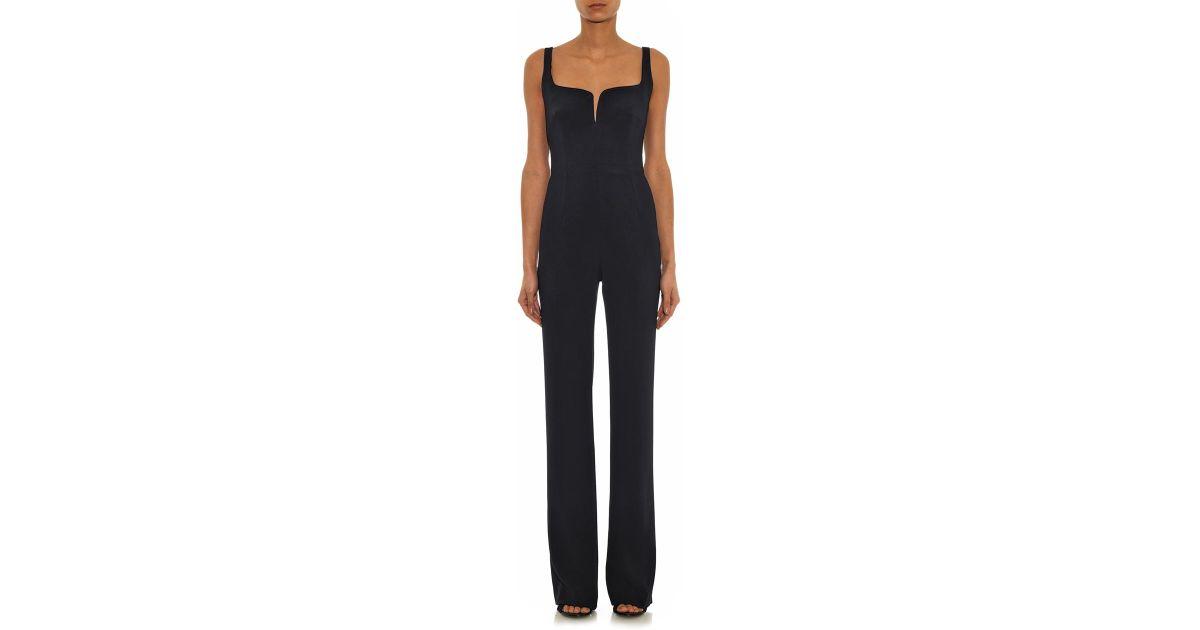 7eb2169bd3e8 Lyst - Galvan London Hidden-Corset Crepe Jumpsuit in Black
