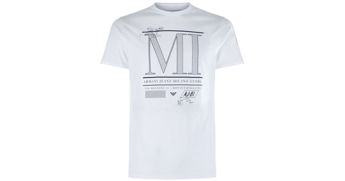 Milano Print White Shirt Men Armani T In For Lyst Jeans Rc3Aq4Lj5