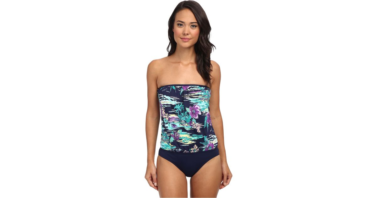 a99626ad37f Tommy Bahama Moorea Floral Molded Cup Blouson Bandini One-Piece in Blue -  Lyst
