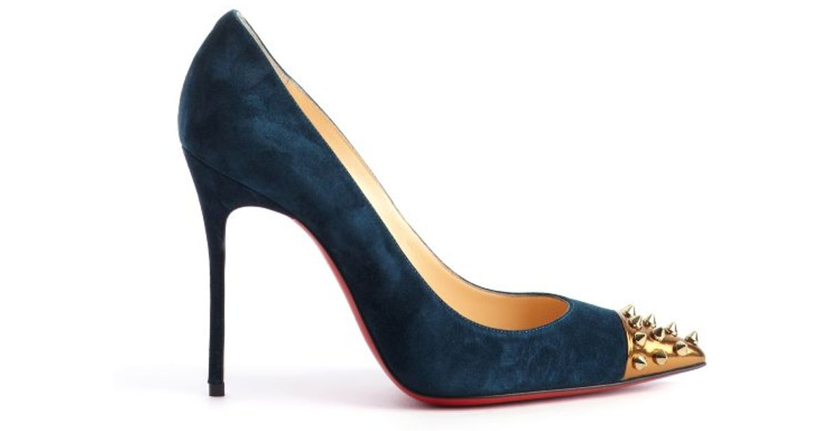0b499fccd4d Christian Louboutin Pacific Blue Suede Geo Pump 100 Spike Detail Pumps in  Blue - Lyst