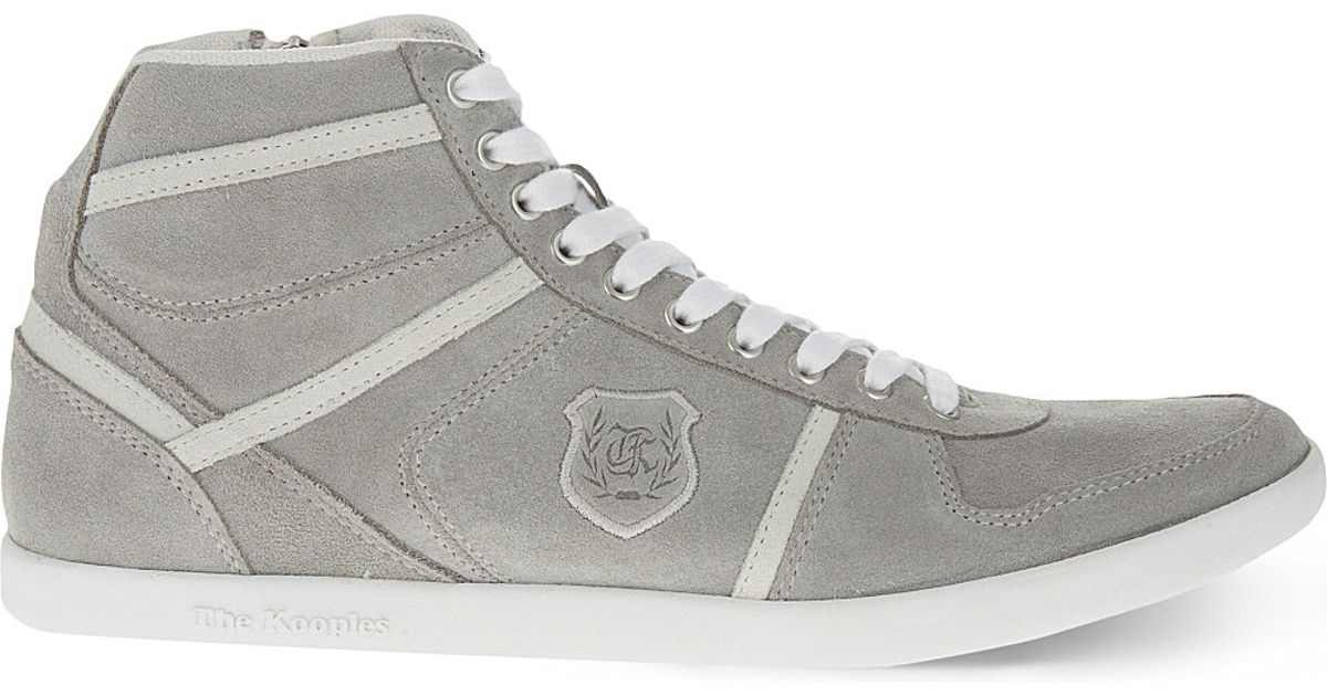 85a4cf5e65 The Kooples Sport Suede High-top Trainers in Gray for Men - Lyst