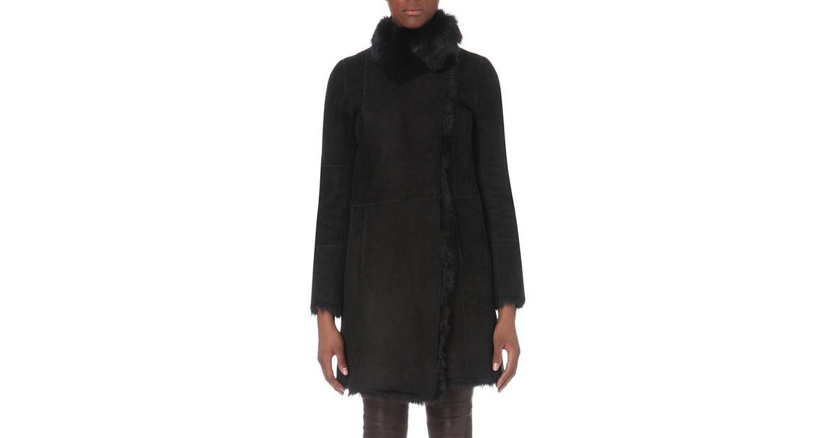 Joseph Anais Toscana Sheepskin Coat in Black | Lyst