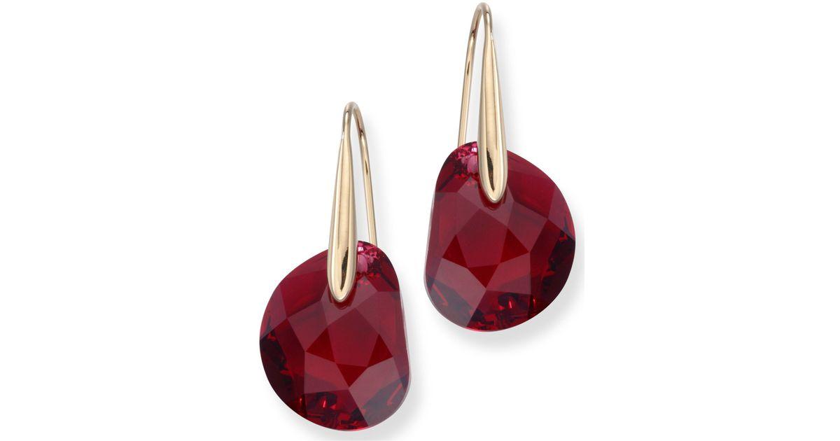 cb6f5db32301e Swarovski Red Crystal Jewelry Galet Pierced Earrings Yellow Gold ...