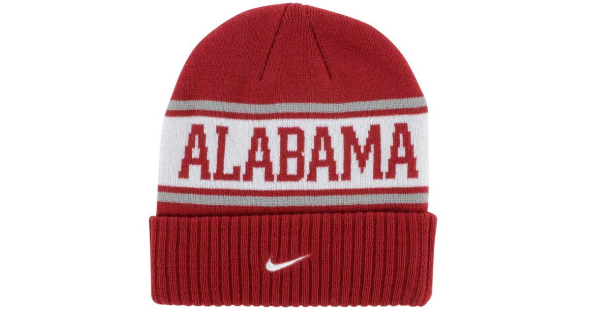 detailed look 6a0ae d65ce ... cuffed pom knit hat 2c79b 7c769  greece lyst nike alabama crimson tide  sideline knit hat in red for men fae19 2487d