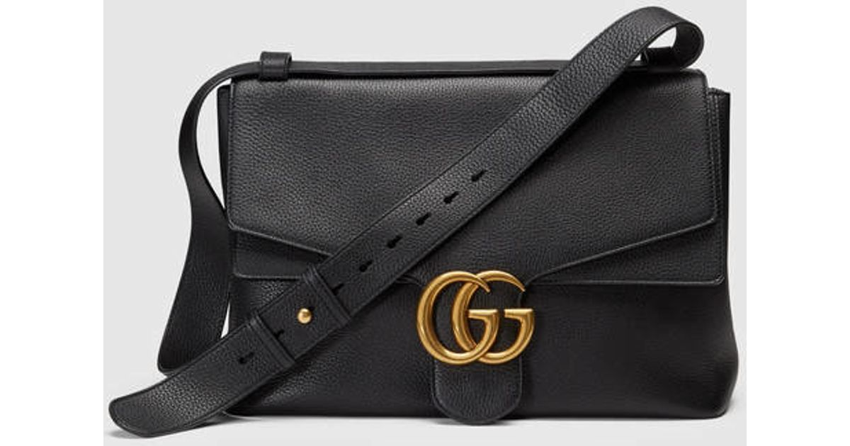 f10b950d3f5 Lyst - Gucci Gg Marmont Leather Shoulder Bag in Black