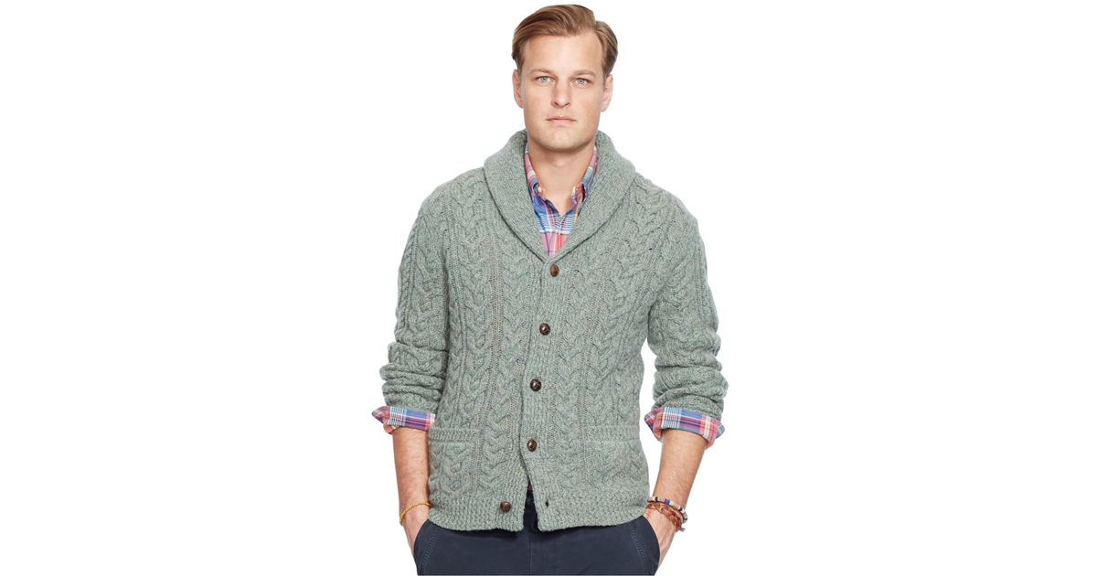 Polo ralph lauren Big And Tall Cable-knit Wool-cashmere Cardigan Sweater in Green