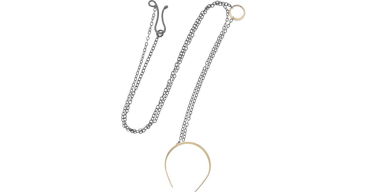 Lyst Melissa Joy Manning Oxidized Silver And 14karat Gold Horseshoe Necklace In Black