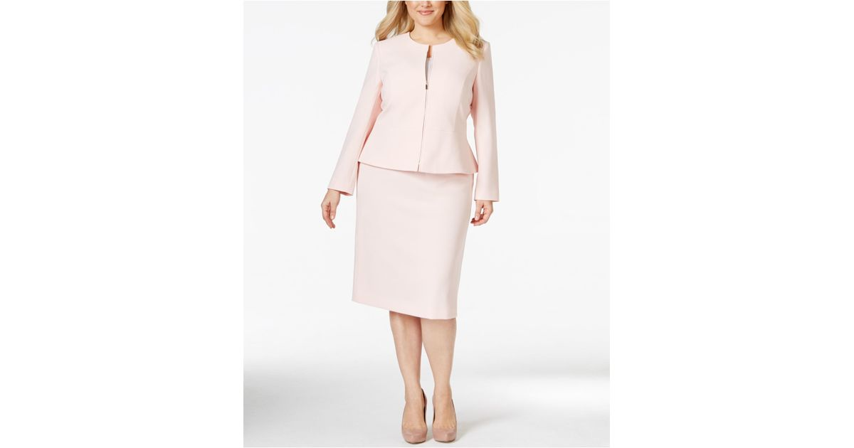 variety of designs and colors vivid and great in style structural disablities Tahari Pink Plus Size Zip-front Peplum Skirt Suit