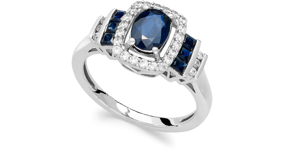 Macy s Sapphire 1 3 8 Ct T w And Diamond 1 5 Ct T w Ring In 14k W
