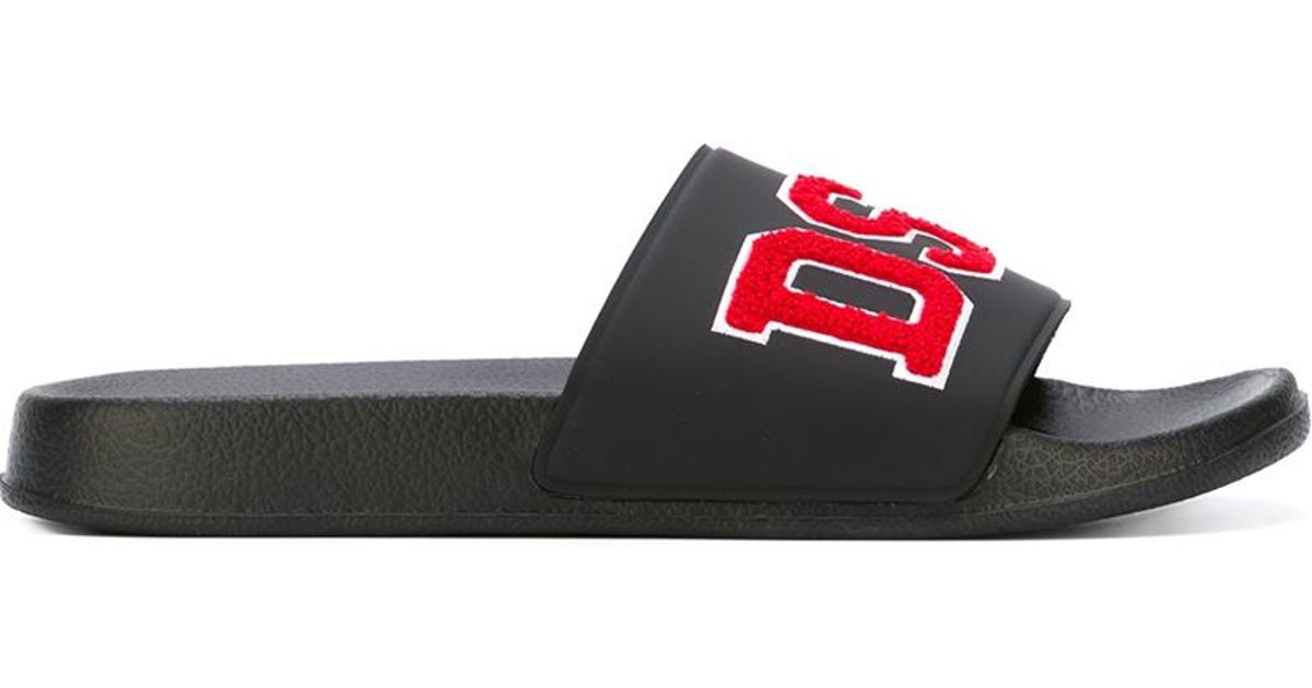 diesel logo patch sliders in black for men lyst
