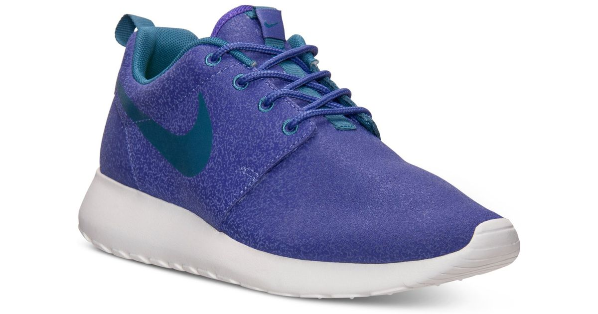 9e6ce6684220 Lyst - Nike Women S Roshe Run Print Casual Sneakers From Finish Line in Blue