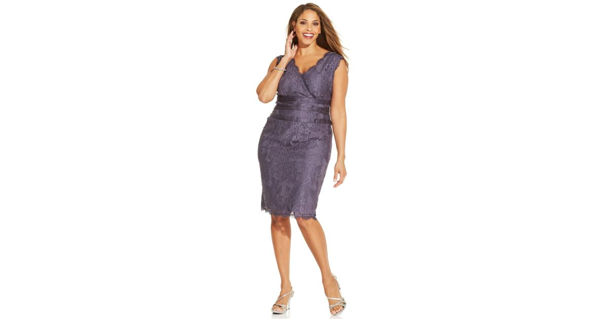 Lyst Adrianna Papell Plus Size Banded Waist Lace Sheath In Purple