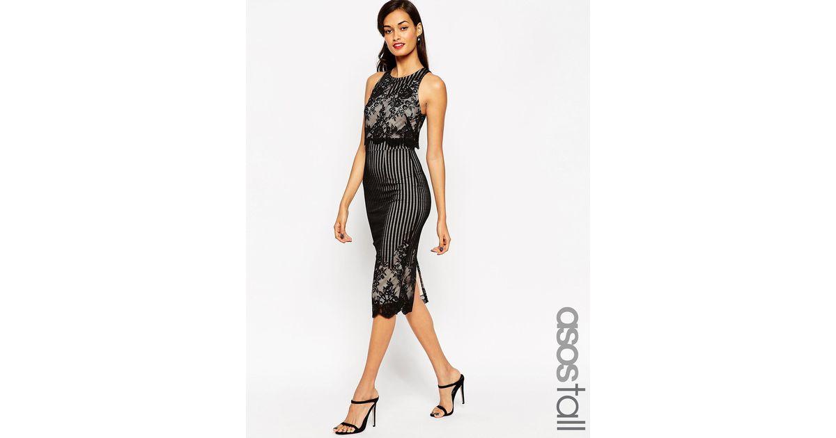 c96ddf86b9a64 ASOS Lace Crop Top Pencil Midi Dress in Black - Lyst