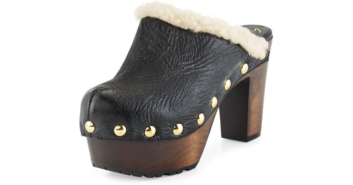 970077051dce0 Giuseppe Zanotti - Black Studded Shearling Fur Platform Clog - Lyst