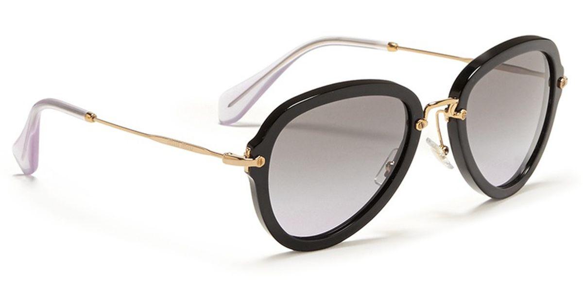 6ce5e3bbb4be Miu Miu Metal Temple Aviator Frame Sunglasses in Black - Lyst