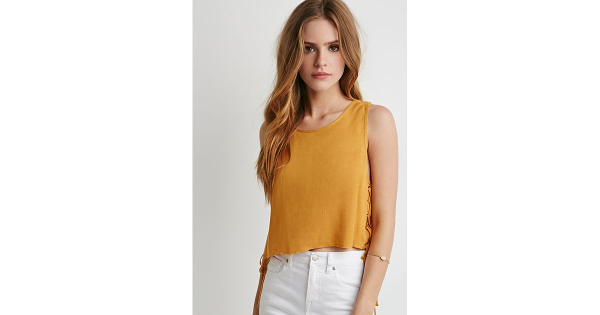 Lyst - Forever 21 Lace-up Crop Top in Yellow 49a84e129