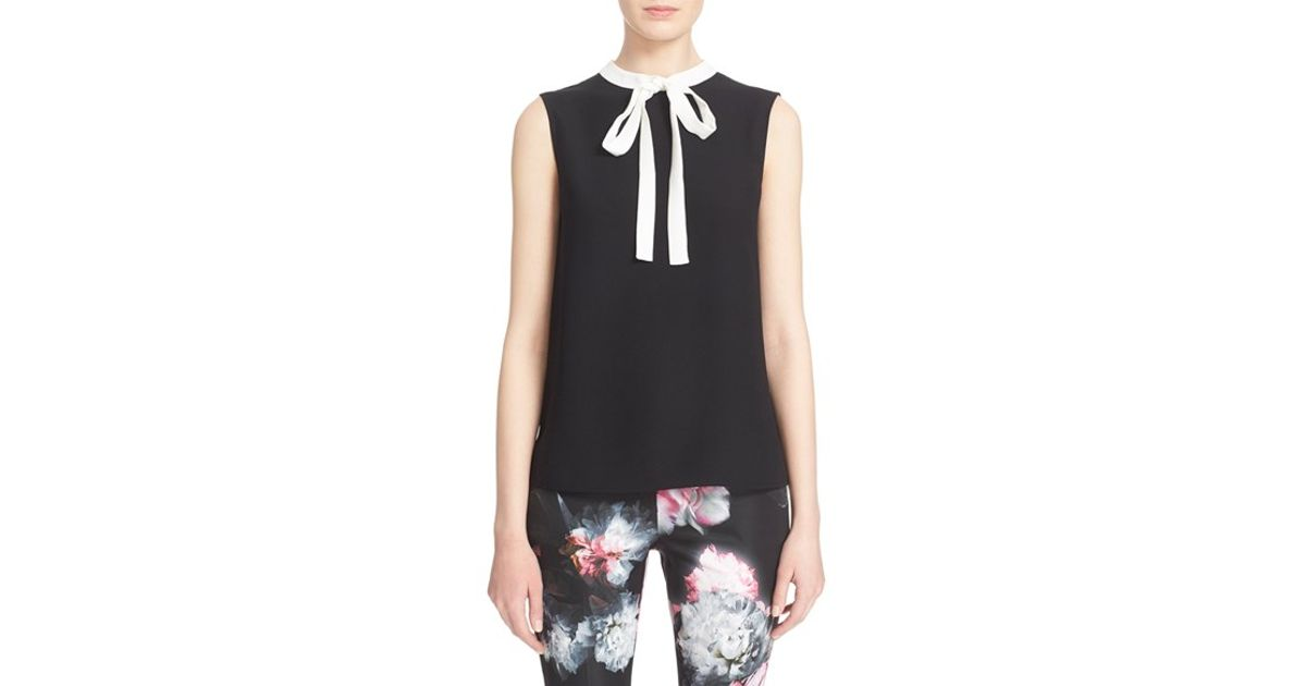 a30c75a870e8 Lyst - Ted Baker 'olia' Bow Tie Crepe Top in Black