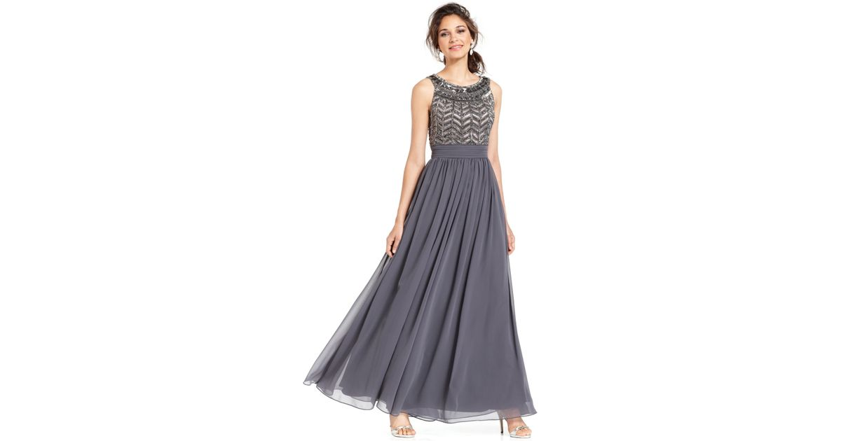 Lyst - Js Collections Sleeveless Beaded Empire Waist Gown in Gray