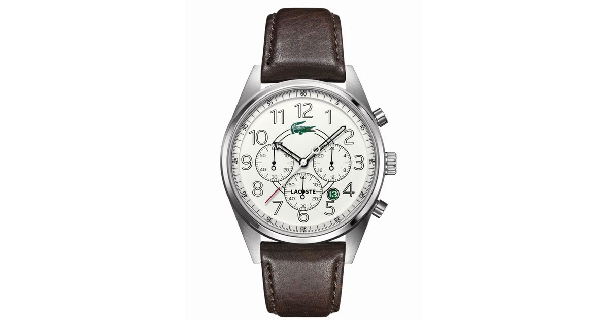 Lyst - Lacoste Men'S Chronograph Zaragoza Brown Leather Strap 43Mm 2010620 in Brown for Men