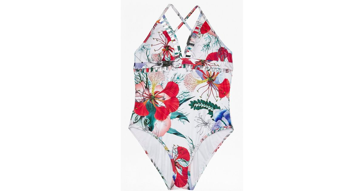 3f23900031 Lyst - French Connection Floral Reef Cutout Swimsuit