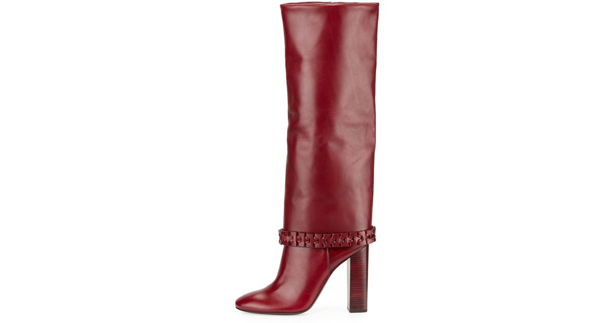 b5c18ab7070 Lyst - Tory Burch Sarava Leather Knee-High Boots in Brown