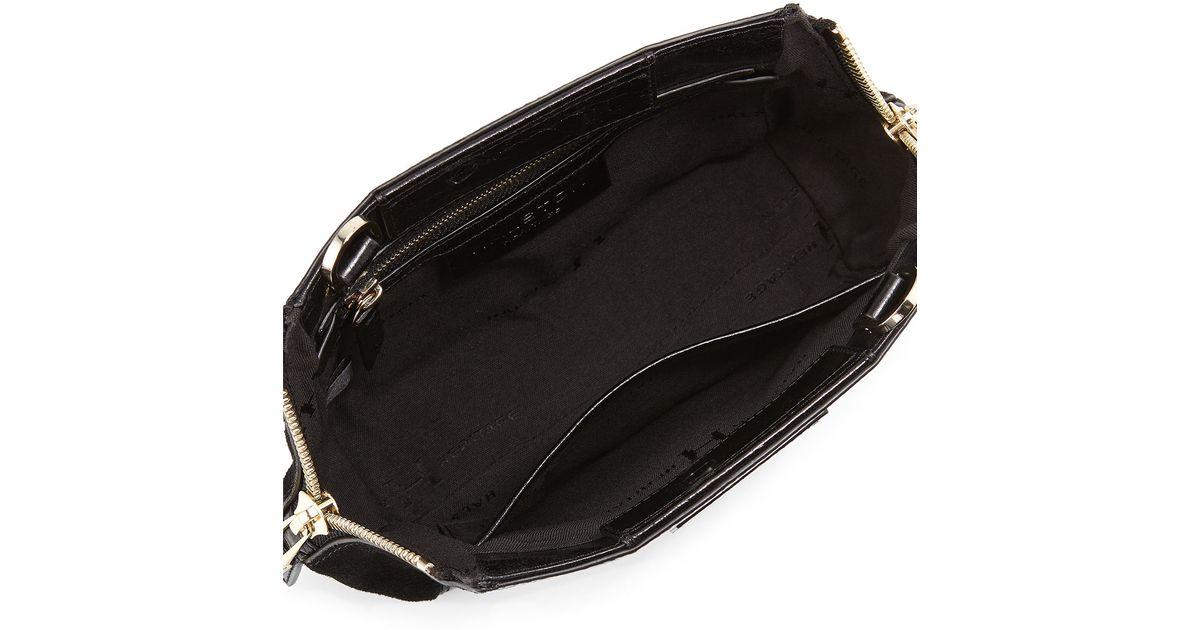 f493037e6b Lyst - Halston Glazed Leather   Suede Evening Clutch Bag in Black