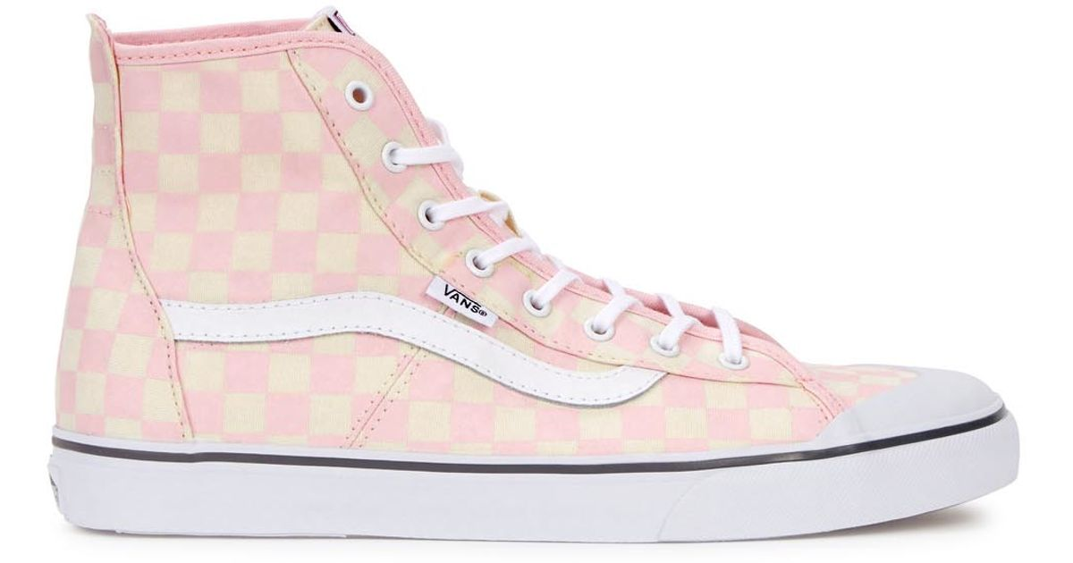 17a4002302c4 Vans Daize-hi Checkerboard Hi-top Trainers in Pink - Lyst