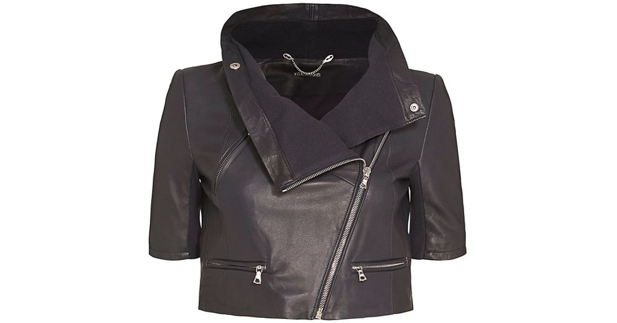 Yigal azrouël Short Sleeve Crop Leather Jacket: Navy in ...