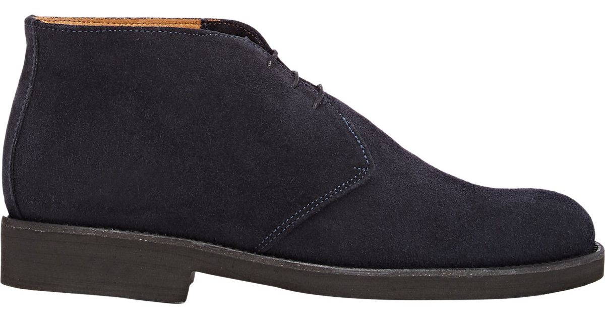 barneys new york s suede chukka boots in blue for