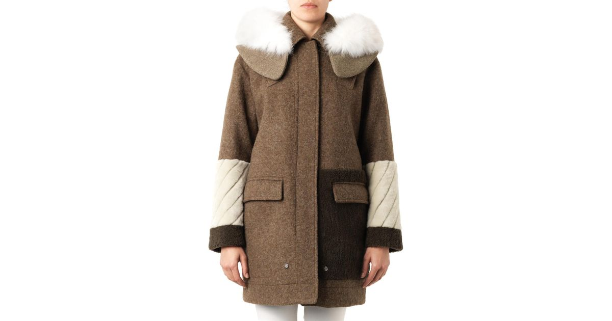 Fendi Shetland Wool & Fox Fur Parka-Green Size 42 It in Green | Lyst