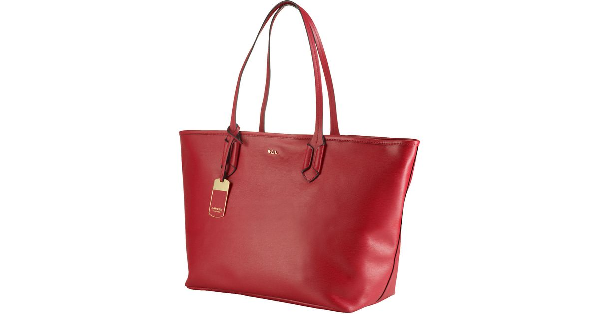 328f92b3e5a ... where to buy lyst lauren by ralph lauren tate classic leather tote bag  in red f5826