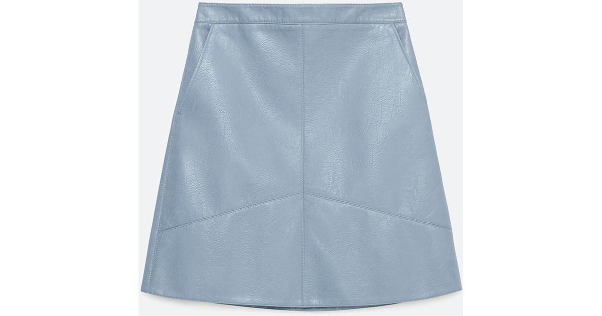 zara a line skirt in blue light blue lyst
